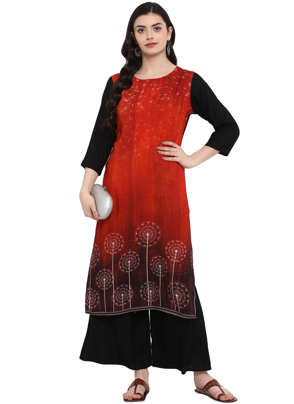 Print Rayon Casual Kurti in Multi Colour
