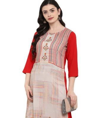 Print Rayon Multi Colour Casual Kurti