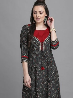 Print Rayon Party Wear Kurti in Black