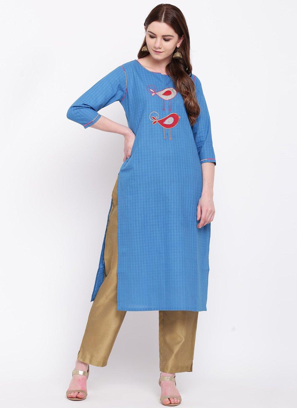 Print Rayon Party Wear Kurti in Blue