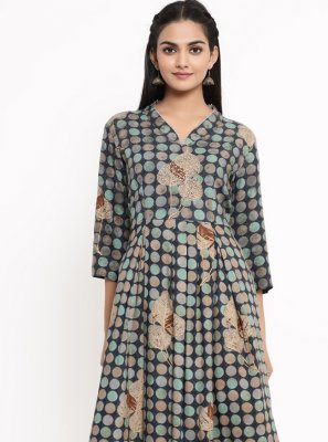 Print Rayon Party Wear Kurti in Multi Colour