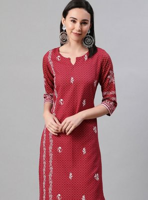 Print Rayon Party Wear Kurti in Red