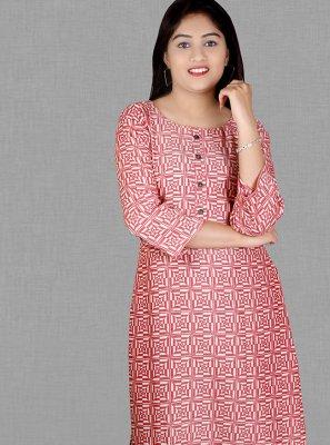 Print Rayon Pink Party Wear Kurti