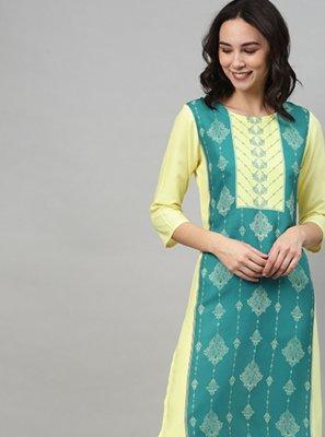 Print Rayon Sea Green and Yellow Party Wear Kurti