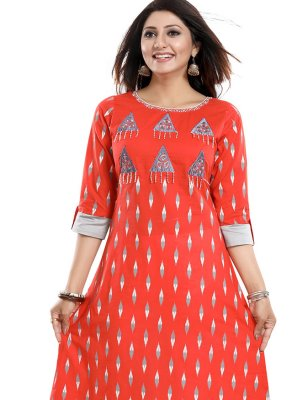 Print Red Party Wear Kurti