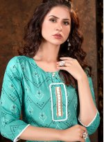 Print Sea Green Party Wear Kurti