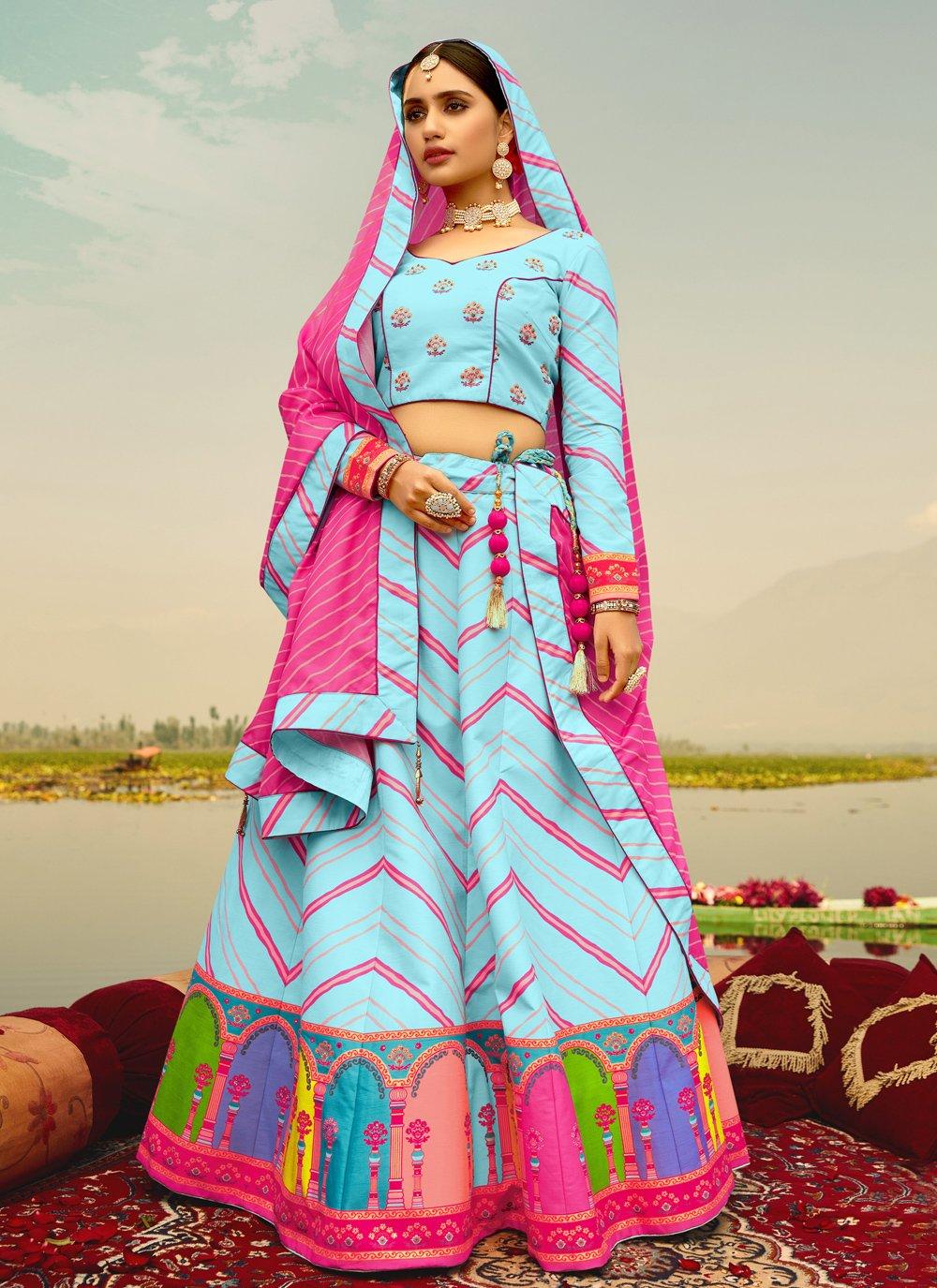 Print Silk Blue Readymade Lehenga Choli