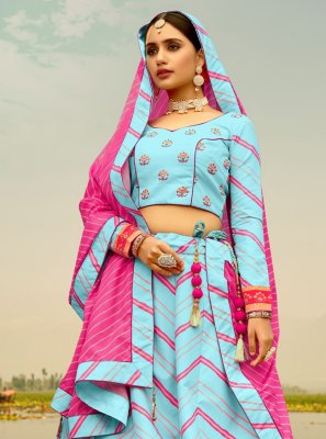 Print Silk Blue Readymade Lehenga Choli