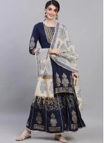 Print Silk Readymade Suit in Navy Blue