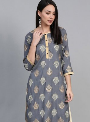 Print Viscose Party Wear Kurti