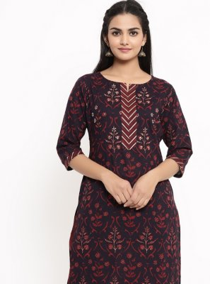 Print Wine Cotton Party Wear Kurti