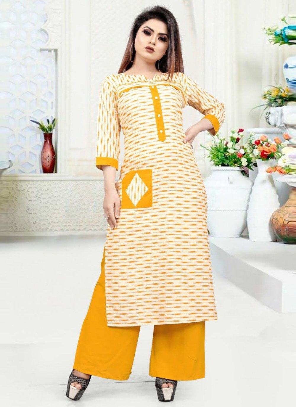 Print Yellow Blended Cotton Party Wear Kurti