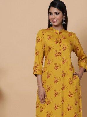Print Yellow Rayon Designer Kurti