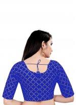 Printed Art Silk Blouse in Blue
