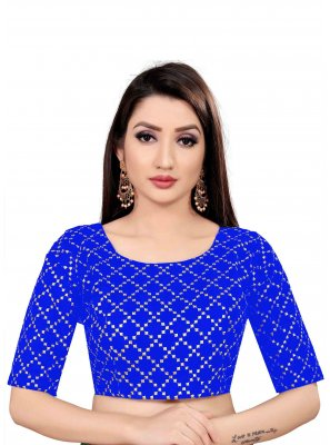 Printed Art Silk Blouse in Blue