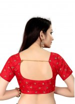 Printed Art Silk Blouse in Red