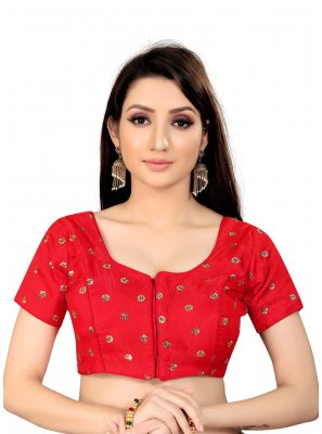 Printed Art Silk Blouse in Red