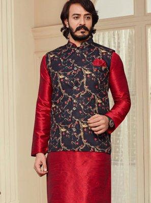 Printed Art Silk Kurta Payjama With Jacket in Black and Red