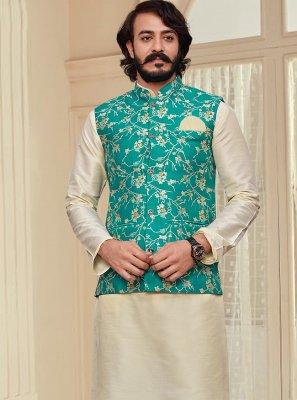 Printed Art Silk Kurta Payjama With Jacket in Cream and Green