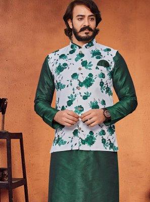 Printed Art Silk Kurta Payjama With Jacket in Green and Off White