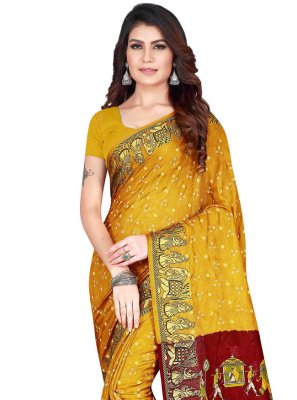 Printed Art Silk Traditional Saree in Yellow