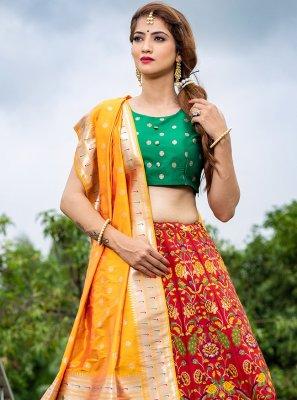 Printed Banarasi Silk A Line Lehenga Choli in Red
