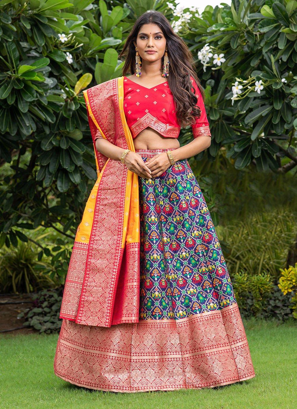 Printed Banarasi Silk Blue A Line Lehenga Choli