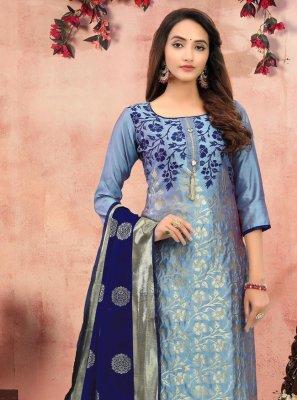 Printed Banarasi Silk Churidar Designer Suit