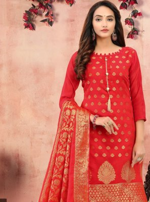 Printed Banarasi Silk Red Churidar Salwar Kameez