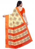 Printed Beige and Orange Cotton Printed Saree