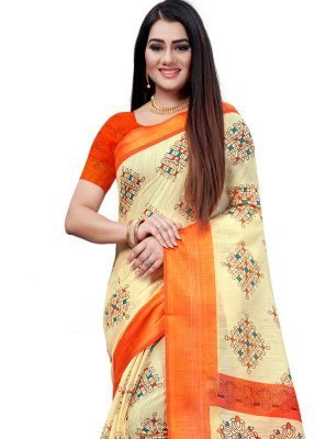 Printed Beige and Orange Cotton Printed Saree