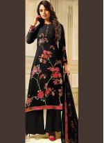 Printed Black Crepe Silk Designer Palazzo Salwar Kameez