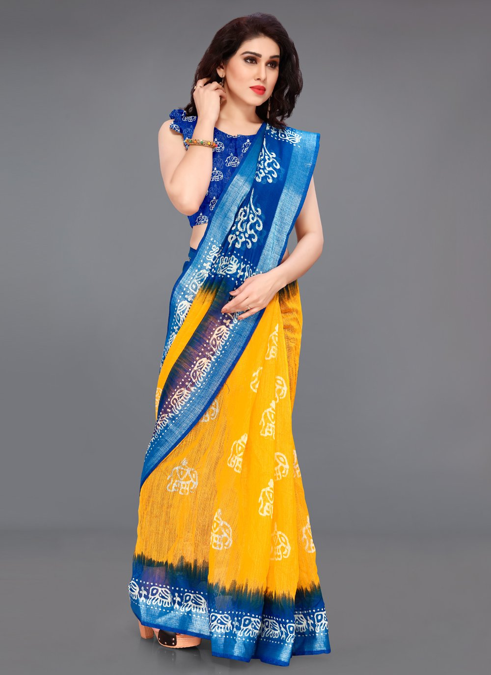 Printed Blue and Yellow Cotton Printed Saree