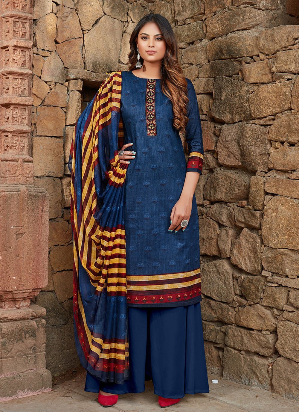 Printed Blue Cotton Designer Palazzo Suit