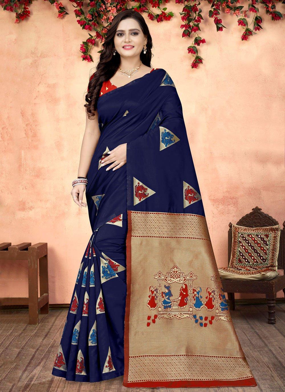 Printed Blue Fancy Fabric Printed Saree