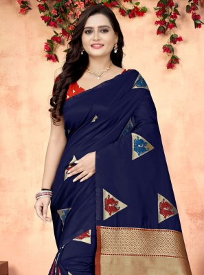 Printed Blue Fancy Fabric Printed Saree