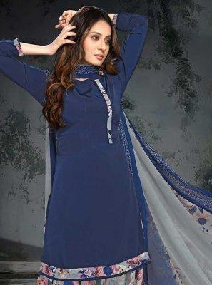 Printed Blue Punjabi Suit