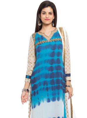 Printed Blue Readymade Salwar Kameez