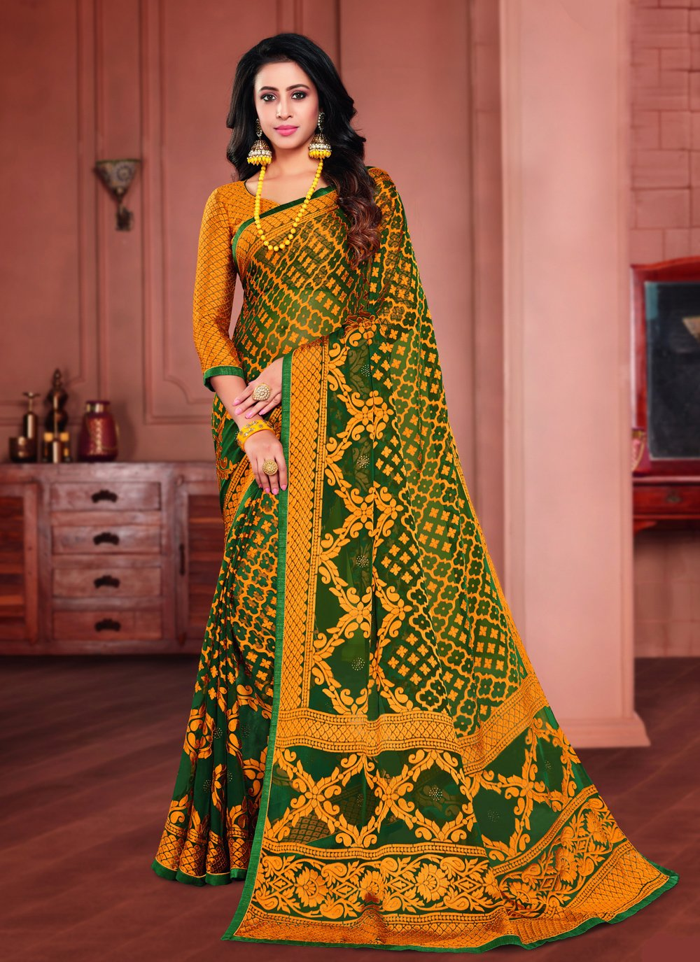 Printed Brasso Printed Saree in Green