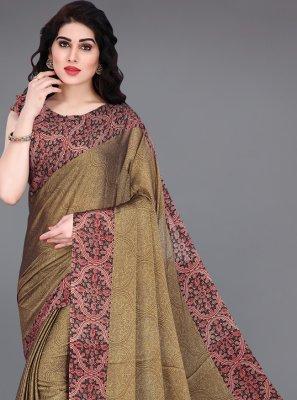 Printed Brown Contemporary Saree