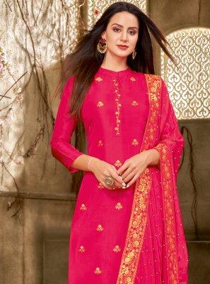 Printed Chanderi Cotton Hot Pink Churidar Designer Suit