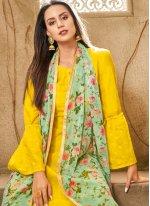 Printed Chanderi Cotton Yellow Churidar Designer Suit