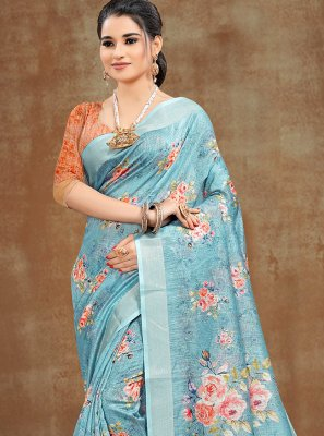 Printed Cotton Aqua Blue Printed Saree