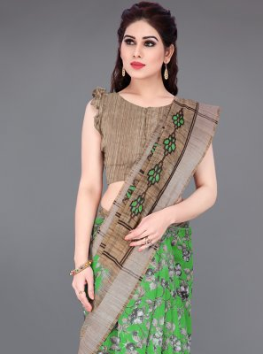 Printed Cotton Beige and Green Printed Saree