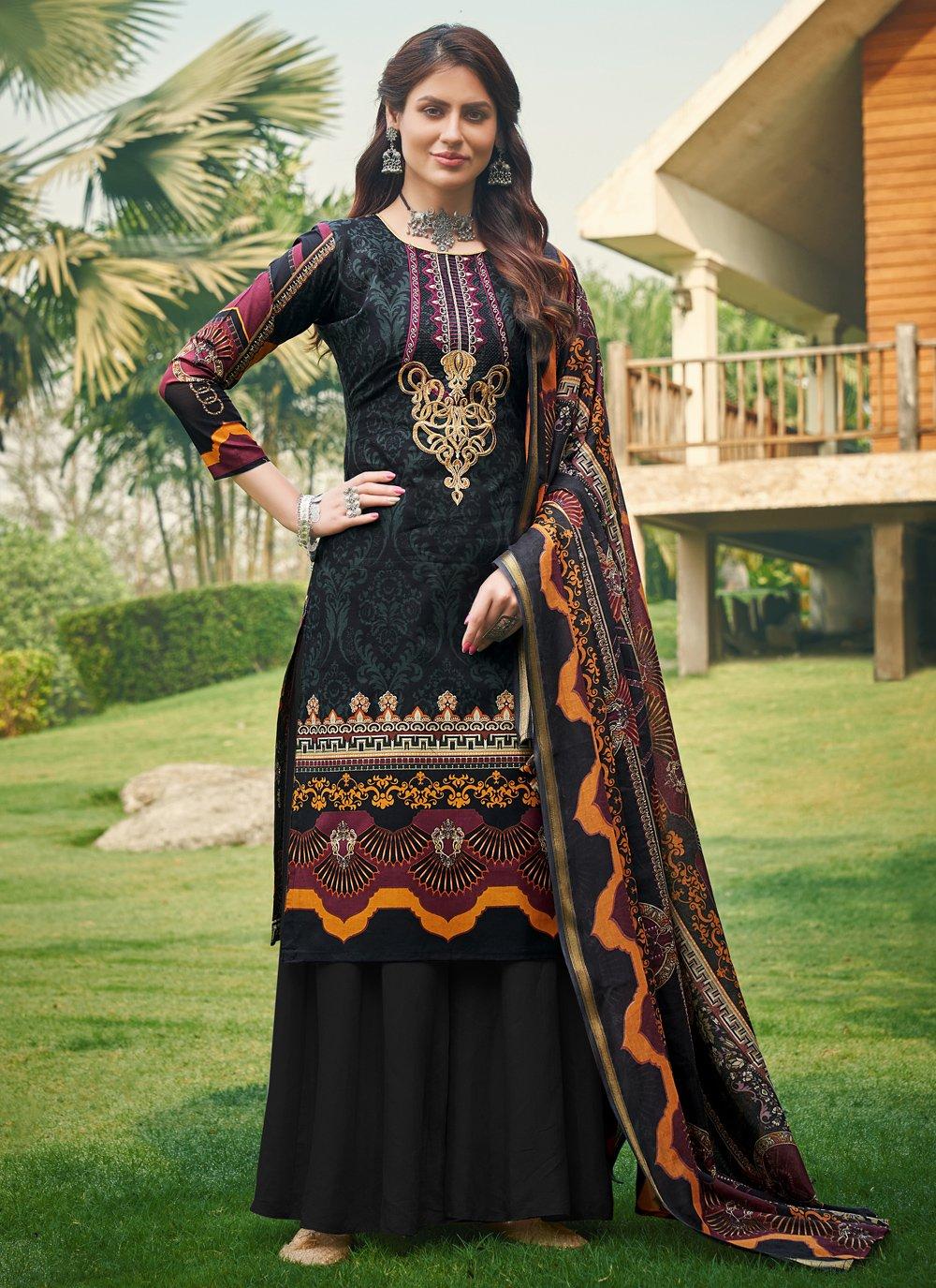 Printed Cotton Black Designer Palazzo Salwar Kameez