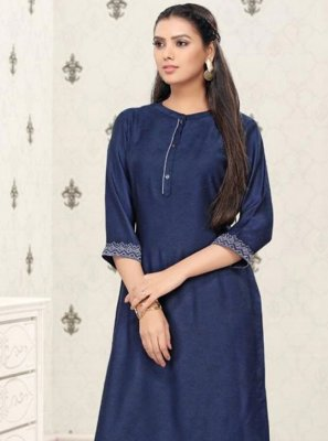 Printed Cotton Blue Party Wear Kurti
