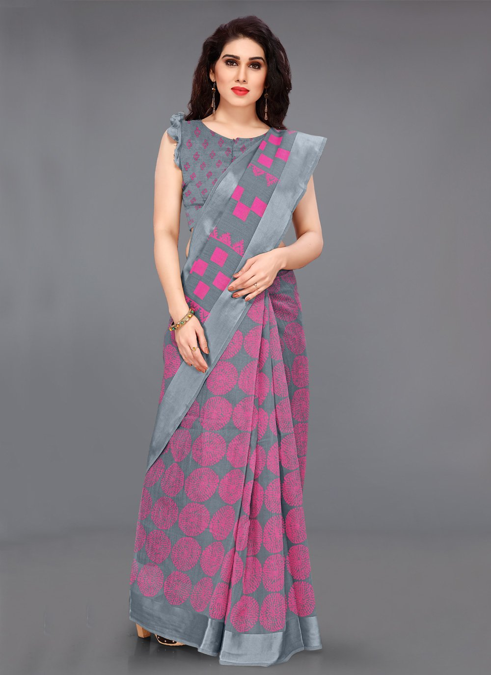 Printed Cotton Bollywood Saree in Multi Colour