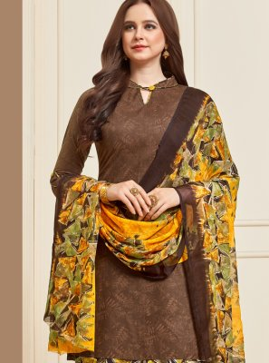 Printed Cotton Brown Designer Patiala Suit