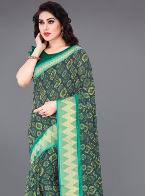 Printed Cotton Green and Grey Printed Saree