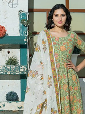Printed Cotton Green Bollywood Salwar Kameez